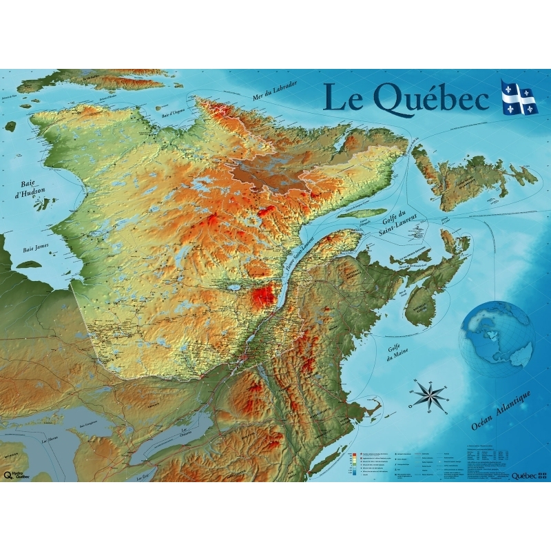 Quebec Topographic Map.Physical Map Of The Province Of Quebec Our Products Aux Quatre