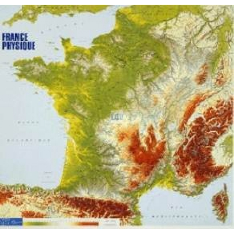 PHYSICAL MAP OF FRANCE - LAMINATED - Our products - Aux Quatre ...