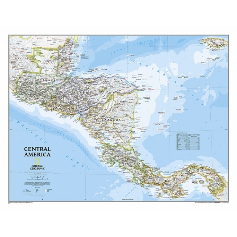 MAP OF CENTAL AMERICA - LAMINATED - Our products - Aux Quatre Points ...