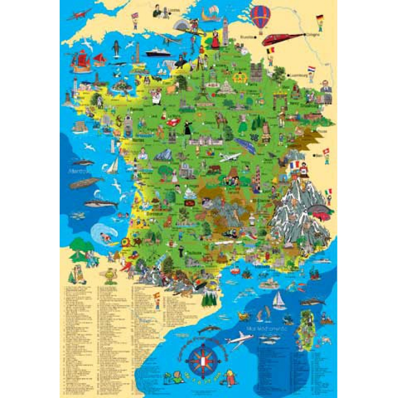 Carte de la france illustr e pour enfant plastifi e - Carte de france murale ...