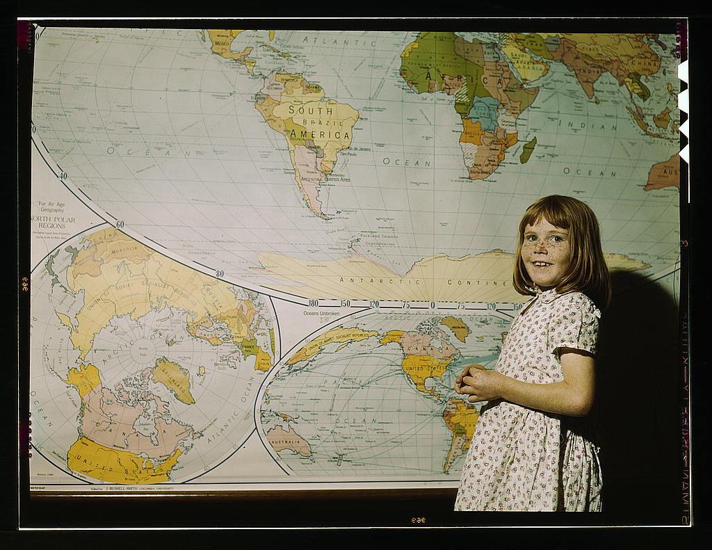 carte du monde enfant vintage classique